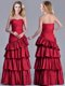 Modest Taffeta A Line Wine Red Mother of The Bride Dress with Ruffled Layers
