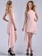 New Style Scoop Empire Chiffon Asymmetrical Mother of The Bride Dress in Baby Pink