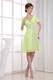 Yellow Green V-neck Cocktail Dress for Homecoming Party