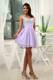 Beading Straps Lilac Beading Cocktail Dress with Mini-length