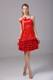 Beading and Bowknot Ruffled Layers Red Spaghetti Straps Prom Dress