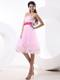 Beautiful Cocktail Dress With Baby Pink Sequins and Sashes 2013