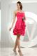 Ruffles Column Sweetheart Pick-ups Cocktail Dress with Hot Pink