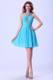 V-neck Beaded Aqua Blue Cocktail Dress With Mini-length For Club