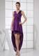 V-neck Purple and High-low V-neck For Custom Made Cocktail Dress