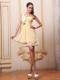 Light Yellow One Shoulder Prom Cocktail Dress With Beading Ruche