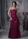 Purple Bridesmaid Dress Column Strapless Taffeta Appliques