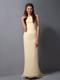 Light Yellow Chiffon Bridemaid Dress Column Halter Brush Train