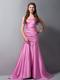 Rose Pink Mermaid Strapless Ruche Brush Train Bridemaid Dress