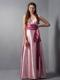V-neck Halter Pink Column Sash Bridesmaid Dress Floor-length