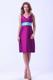 Purple V-neck Knee-length Bridesmaid Dress With Blue Belt