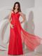 Red Empire V-neck Chiffon Bridesmaid Dress with Beading