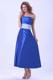 Strapless Royal Blue Taffeta Bridemaid Dress With Sash Tea-length