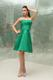 Ruched Strapless Knee-length A-Line Taffeta Bridesmaid Dress