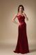 Wine Red Column Sweetheart Ruche Brush Train Bridesmaid Dress