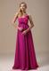 One Shoulder Hand Made Flowers Fuchsia Ruche Bridesmaid Dress