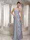 Column Strapless Appliques and Beading Floor-length Grey Prom Dress For Party