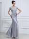 Beading V-neck Mermaid Ankle-length Foraml Evening Dresses Grey