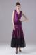 Eggplant Purple Foraml Evening Dresses With Ruches and Ankle-length