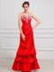 Lace Strapless Floor-length Red Foraml Evening Dresses