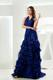 Mermaid Halter Brush Train Royal Blue Ruffles Foraml Evening Dresses