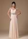 Champagne V-neck Beaded Shoulder Custom Made Graduation Dresses