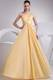 Beading and Ruching One Shoulder Yellow Graduation Dress For 2013