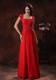 Custom Made Red Square Graduation Dress with Lace Over Bodice