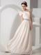 Champagne Empire One Shoulder Beading Graduation Dress
