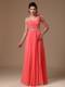 One Shoulder Watermelon Beaded Flowers Graduation Dress