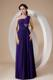 Purple Column Sheath One Shoulder Beaded Graduation Dress
