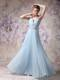 Lovely Baby Blue Halter Prom Dress with Beading Floor-length