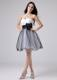 White and Black Homecoming Dresses Sweetheart With Sash Ruche