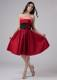 Hand Made Flowers Strapless Wine Red Homecoming Dresses