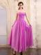 Lavender Homecoming Dresses with Sweetheart Ruching Ankle-length