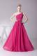 One Shoulder Ruched Bodice Hot Pink Homecoming Dresses Beading