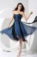 Pleat Blue and Black Sweetheart Tea-length 2013 Homecoming Dresses