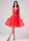 Red V-neck Sweet 2013 Homecoming Dresses With Beading and Ruche