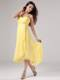 Simple Yellow Spaghetti Straps Homecoming Dresses Beading Ruche
