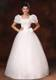 Diamonds and bowknot Decorated Wedding Gown with Puffy Short Sleeves