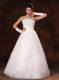 A-line Strapless Floor-length with Beading for Wedding with Gloves