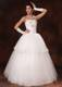 Fashionable Two Tiers Floral Beading Decorated Strapless Wedding Gown