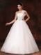 Jewelry One Shoulder Bridal Gown Decorated with Bowknot and Diamonds