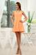 Halter Ruched and Pleated A-line Orange Dresses for Prom of Mini-length