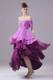 Ombre Purple Beaded Prom Dress of off Shoulder and High-low with Short Sleeves