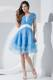 Ruched Baby Blue Prom Dress Knee-length Organza with Beaded White Belt