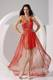 V-neck and Beading Accent Rust Red Prom Gown of High-low and Criss Cross Back