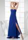 Royal Blue Sweetheart Ruched Chiffon Prom Dress with High Slit and Watteau Train