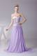 Ruched Lilac and Gold Chiffon Brush Train Prom Dress of Latest Style