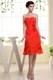 Flowers and Layers Accent on A-line Red Dresses for Prom of Knee-length